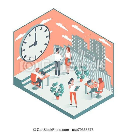 工作, 大, 針對, clock., 背景, 辦公室人們 - csp79363573