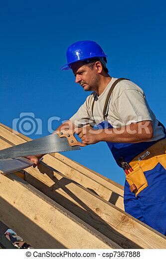 工作, 木匠, 屋頂 - csp7367888
