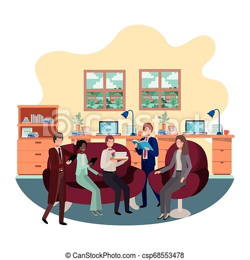 工作, 組, 商業辦公室, 人們 - csp68553478