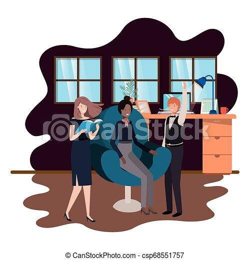 工作, 組, 商業辦公室, 人們 - csp68551757