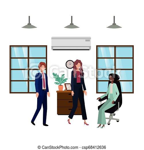 工作, 組, 商業辦公室, 人們 - csp68412636