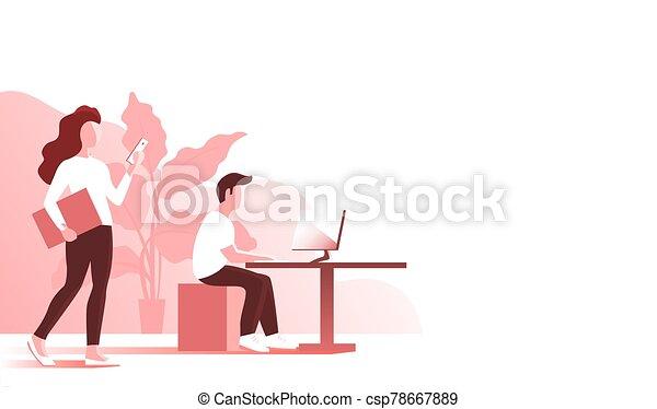 工作, 辦公室, 女孩, 人, 年輕 - csp78667889