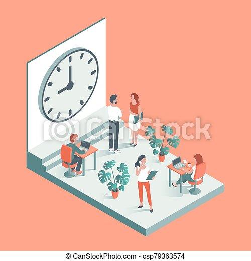 工作, 針對, clock., 背景, 辦公室人們 - csp79363574