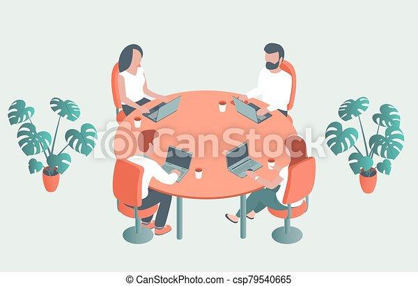 年輕, 桌子, 辦公室。, 人們坐, 輪, 筆記本電腦 - csp79540665