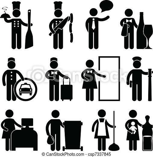 廚師, 侍者, 駕駛員, bellman, 男管家 - csp7337845