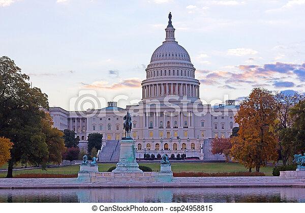 建築物, 州議會大廈, 華盛頓特區, 我們, 秋天, 黎明 - csp24958815