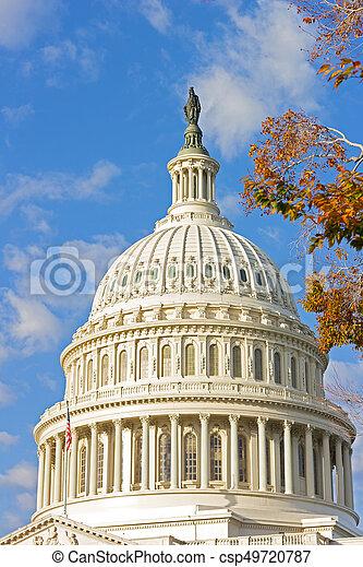 建築物, 州議會大廈, 鮮艷, 樹, 圓屋頂, 我們, 秋天, foliage. - csp49720787