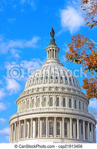 建築物, 秋天, 黎明, 州議會大廈, 我們 - csp21913456