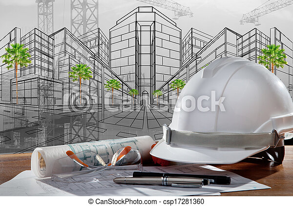 建築物, 鋼盔, 安全, 場景, pland, 木頭, 建築師, 文件, 桌子, 建設, 傍晚 - csp17281360