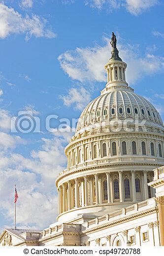 建築物, dc, 州議會大廈, 自由, 頂部, 華盛頓, 我們, 雕像, usa. - csp49720788