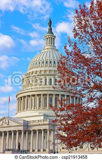 建設顏色, 秋天, 州議會大廈, 我們 - csp21913458