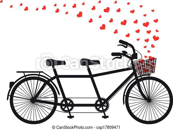 心, 串聯的自行車, 紅色 - csp17809471