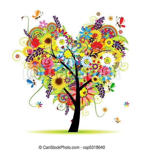 心, 夏天, 植物, 樹, 形狀 - csp5318640