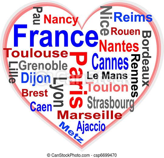 心, 大, 法國, 詞, 城市, 雲 - csp6699470