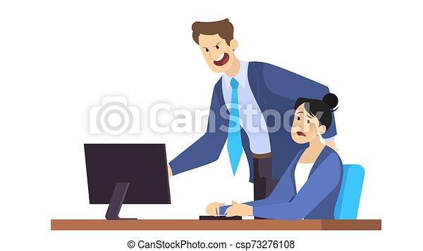 憤怒, 老板, 呼喊, 雇員, 衣服, 女性 - csp73276108