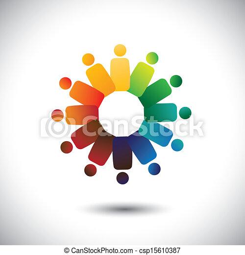 或者, 社區, 鮮艷, 玩, 也, 雇員, 圈子, friendship-, 工人, 團結, 矢量, &, graphic., 代表, 聯合, 統一, children(kids), 這, 會議, 插圖, 一起, 概念, 等等 - csp15610387