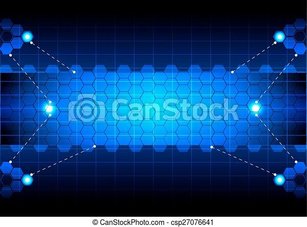 技術, 六角形, 藍色, 摘要 - csp27076641