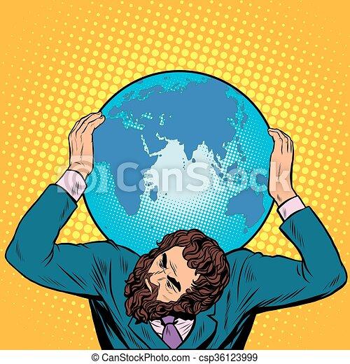 握住, 他的, 肩, 地圖集, 商人, 地球 - csp36123999