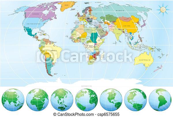 政治, 地圖, 世界 - csp6575655