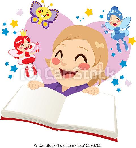 故事, 漂亮, 女孩讀物, 仙女 - csp15596705
