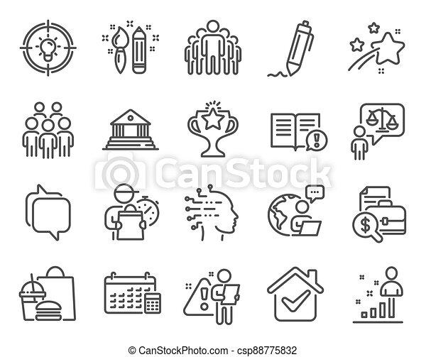 日曆, 人們, 組, set., 圖象, 矢量, 圖象, signs., included, 教育, 律師 - csp88775832