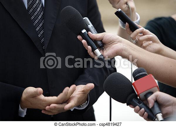 會議, 事務, 新聞工作, 話筒, 會議 - csp4819427