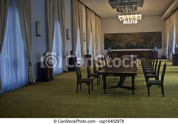會議, chi, minh, ho, palace), palace(independence, 房間, 重新統一, 城市, 越南 - csp16402978