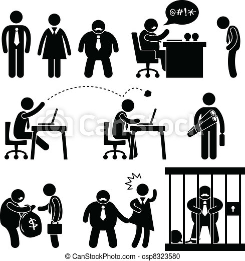 有趣, 老板, 商業辦公室, 圖象 - csp8323580