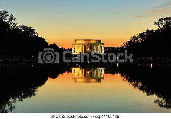 林肯, 華盛頓, 紀念館, dc, 紀念碑, 傍晚 - csp41188429