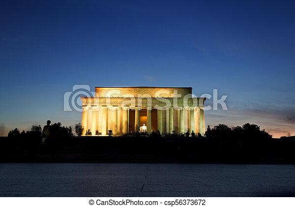 林肯, 華盛頓, 紀念館, dc, 紀念碑, 傍晚 - csp56373672