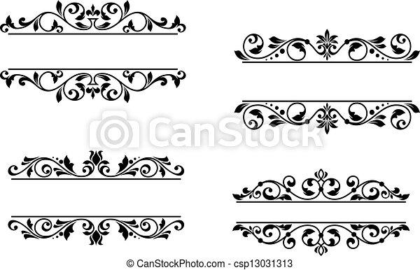 植物, 集箱, 框架, 元素, retro - csp13031313