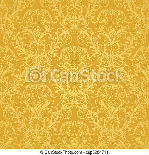 植物, 黃金, 牆紙, 豪華 - csp5284711