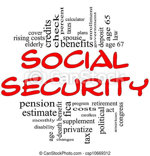 概念, 詞, &, 黑色的雲, 社會保險, 紅色 - csp10669312