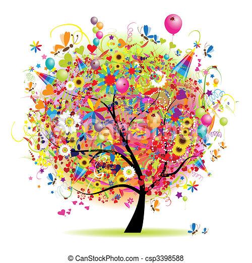 樹, 愉快, 假期, 有趣, 气球 - csp3398588