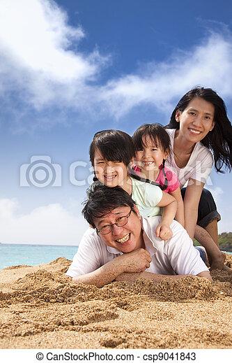 海灘, 家庭, 愉快 - csp9041843