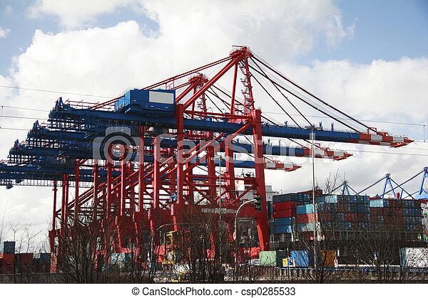 港口, (a), -, 著陸, 德國, 漢堡, 起重機, 階段 - csp0285533