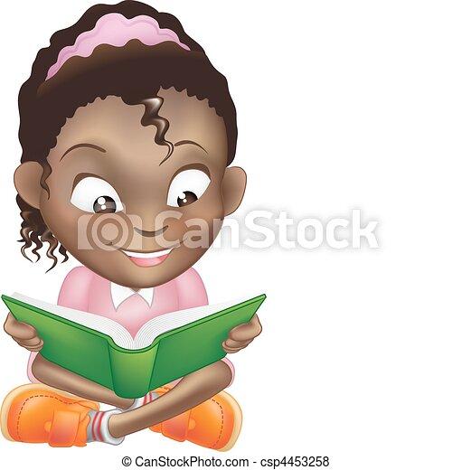 漂亮, 插圖, 書, 黑色的女孩, 閱讀 - csp4453258