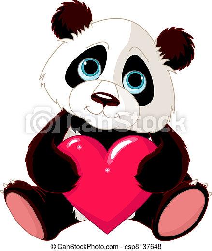 熊貓, 心, 漂亮 - csp8137648
