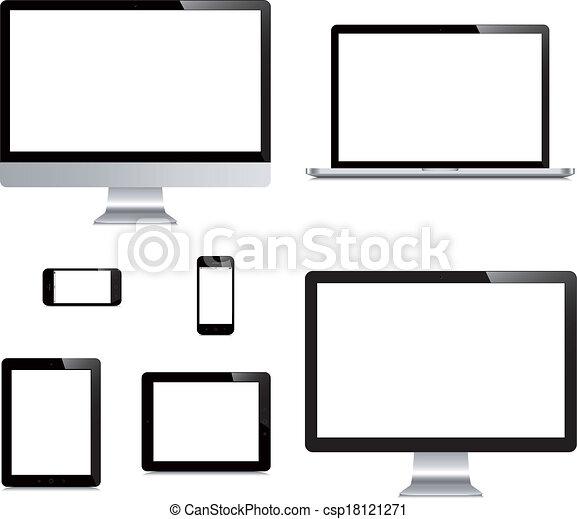片劑, 被隔离, 膝上型, 電腦, 背景, 白色, smartphone, 顯示 - csp18121271