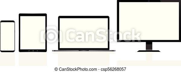 片劑, 電話, 流動, 現代, 膝上型, 個人電腦電腦, 數字 - csp56268057