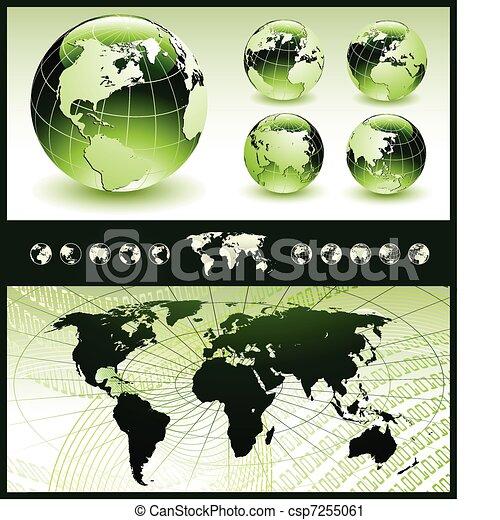 球体, 地圖, 綠色, 世界 - csp7255061