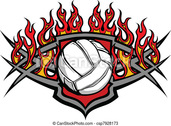 球, 火焰, 排球, 樣板 - csp7928173