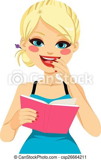 白膚金髮, 閱讀, 女孩, 愉快 - csp26664211