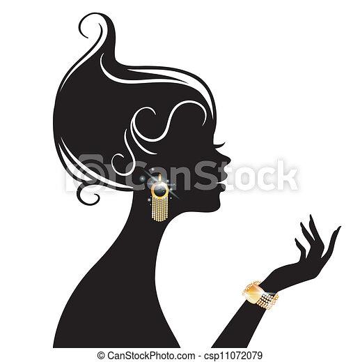 矢量, 婦女, 插圖, 美麗 - csp11072079