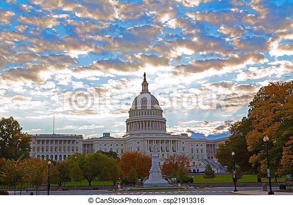 秋天, 顏色, 州議會大廈, 我們 - csp21913316