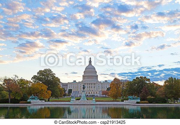 秋天, 顏色, 州議會大廈, 我們 - csp21913425