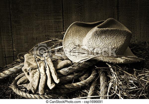 秸桿, 干草包, 手套, 帽子 - csp1696691