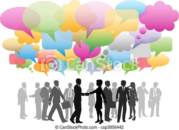 网絡, 事務, 媒介, 公司, 演說, 社會, 氣泡 - csp3856442