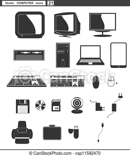 网, 集合, 電腦監視器, icons., 矢量, retro - csp11592470