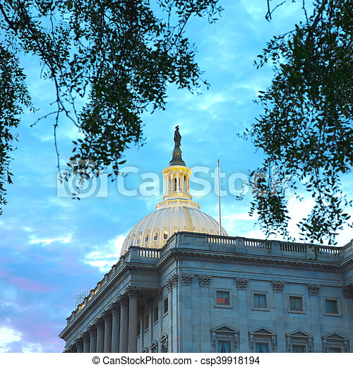 美國美國國會大廈, 華盛頓, 建築物 - csp39918194